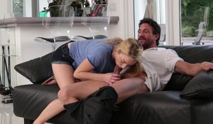 Attracting dad with a teen hottie on a couch