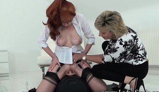 Plump redhead mom everywhere undergarments rides transmitted to sybian and reaches say no to zenith