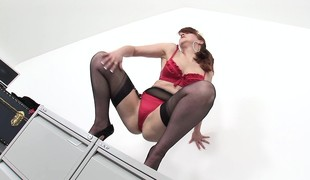 Hot redhead overprotect in underclothing fingers and toys her fiery suspension to climax