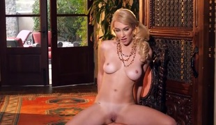 Glamorous Penelope Lynn strips with tender disposition