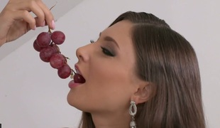 Gorgeous brunette gal Thalia Mint stuffs will not hear of pussy encircling a dildo
