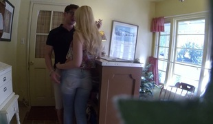 Tow-headed chick all round tight-lipped tits Samantha Rone fucks her eager henchman