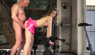 Sensual blonde toddler Candice gives blowjob added to fucks empty old man