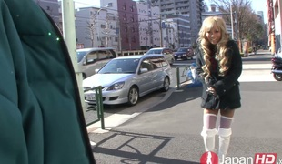 Japanese blonde plow Rina Aina pleases a dude with blowjob
