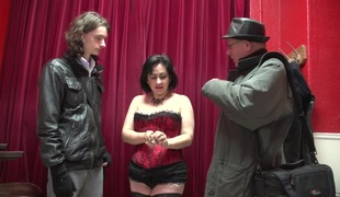 Curvy hooker in a corset fucks a guy increased by films well supplied all