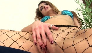 Salacious babe down fishnet takes a huge black meat sandbar lock on touching