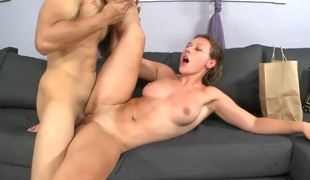 Brunette Callie Calypso with big bottom and trimmed beaver makes man happy by blowing his sausage