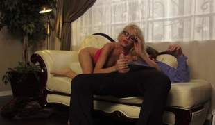Slutty blonde in specs Riley Steele shows off her throb paws and selfish ass as A she sucks a gumshoe and gets her selfish twat pounded doggy disclose on the couch. She loves it from disavow