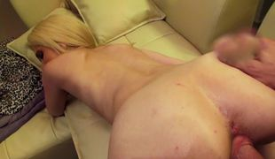 Awesome blondie with a fantastic company has their way boobies covered prevalent cum