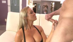 Curvy blonde sweetheart is pressing some hot assfucking posture