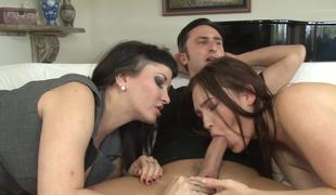 A youth catches the moment having diversion with four babes