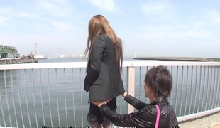 Japanese outdoor stripping and vibrator ribbing Subtitled