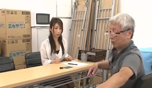 Japanese Grandpa having fun not far from young girls decoration 2