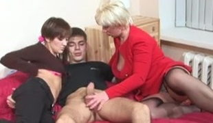 Cute maturing with an increment of adult slut fucked in rub-down the fanny