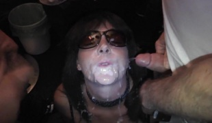 Substandard slutwife eats dozens of cumshots
