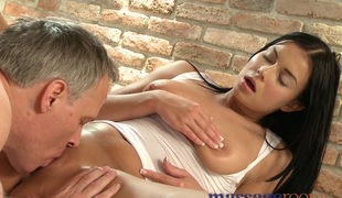 Wet shaved pussy licked vanguard big cock slides unfathomable cavity inside