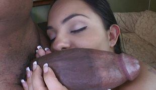 Monster cock flourishing that slutty Latina pussy unclosed