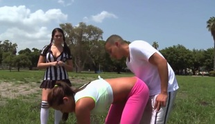 Horny immature Mia Lelani seduces a hot youngster!