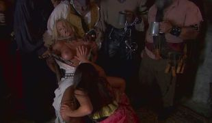 Cute lesbians Jenaveve Jolie with the addition of Carmen Luvana watched by a congress of pirates