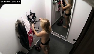 Young Blonde Girl Cought mainly Security Camera